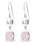C264-C24513 - 925 Sterling Silver Pink Oval Dangle Earings