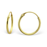 C948/C174-C25281 - Gold Plated 925 Sterling Silver Hoop Earrings 14mm