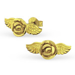 C924 - 925 Sterling Silver gold plated Rose & Wing Earring