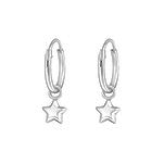 C1265-C31269 - 925 Sterling Silver Hoop Star Earrings
