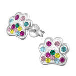 C1273-C34782 - 925 Sterling Silver Children's Crystal Paw Print Earrings