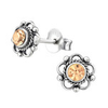 C152-C30072 - 925 Sterling Silver Rose Swarovski Crystal Earings 7mm