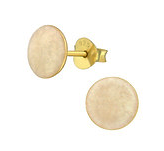 C1160-C36966 - Gold Plated 925 Sterling Silver White Shimmer Earrings