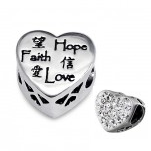 C65-C10756 - 925 Sterling Silver Faith Hope Love European Bead