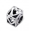 C117-5740 - 925 Sterling Silver European Charm Bead, Heart Square