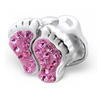 C35-C5258P - 925 Sterling Silver Baby Feet European Charm, Pink