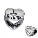 C62-C9931 - 925 Sterling Silver I love my wife, Sparkle Heart European Charm