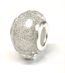 C79-CB58531 - Pretty Silver Plated Gray Glitter European Bead