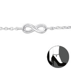 C144-C27906 - 925 Sterling Silver Infinity Anklet Ankle Chain