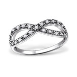 C343-C31583 - 925 Sterling Silver Infinity Ring with Stones