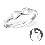 C109-C26184 - 925 Sterling Silver Infinity Toe Ring, adjustable size