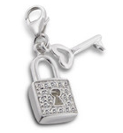 C151-C13365 - 925 Sterling Silver Lock with Key Dangle Charm for bracelet