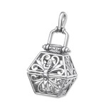 C32523 - 925 Sterling Silver Filigree Clip Open Locket Pendant