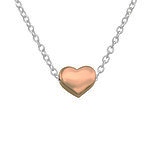 C1012-C17454 - 925 Sterling Silver and Rose Gold Heart Necklace