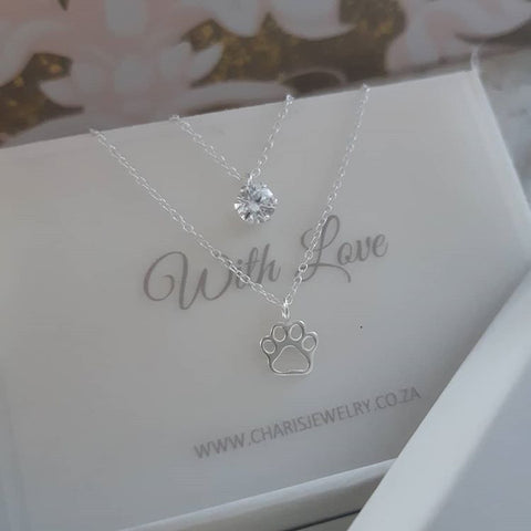 C841-C33005 - 925 Sterling Silver Paw with CZ Stone Layered Necklace