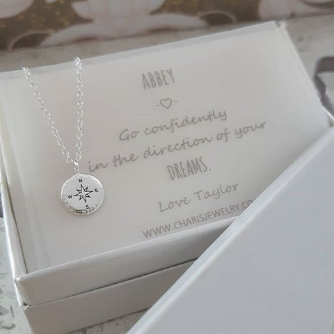 PN5-C1021-C37189 - 925 Sterling Silver Compass Necklace with Personalized Note