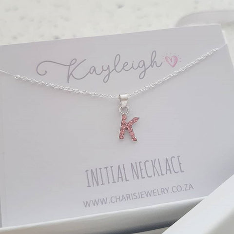 925 Sterling Silver Children's Initial Letter Necklace on Personalized Card