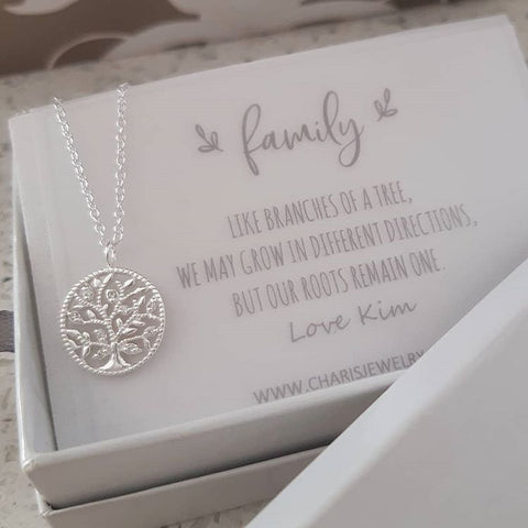 C503-C34529 - 925 Sterling silver CZ Tree of Life Necklace with Personalized Note
