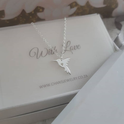 C1123-C32219 - 925 Sterling Silver Hummingbird Necklace