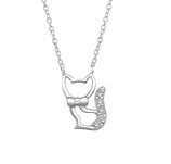 C1008-C32078 - 925 Sterling Silver CZ Stones Cat Necklace