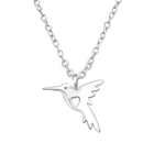 C1123-C32219- 925 Sterling Silver Hummingbird Necklace