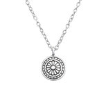 C1128-C32238 - 925 Sterling Silver Antique Flower Necklace