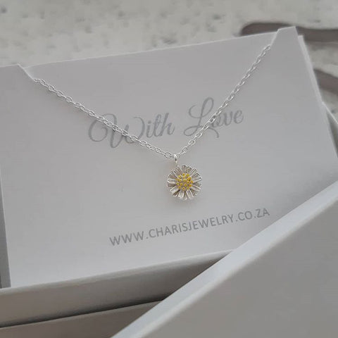 C1412-C39550 - 925 Sterling Silver Flower Necklace