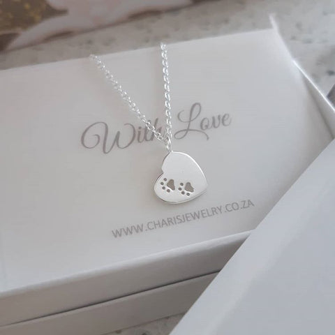 C964-C37188 - 925 Sterling Silver Paw Prints Heart Necklace
