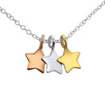 C942-C17042 - 925 Sterling Silver, Gold & Rose Gold Stars Necklace