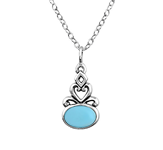 C1129-C23364 - 925 Sterling Silver Turquoise Necklace