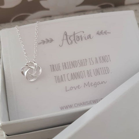 C387-C19122 - 925 Sterling Silver Love / Friendship Knot Necklace with Personalized Note
