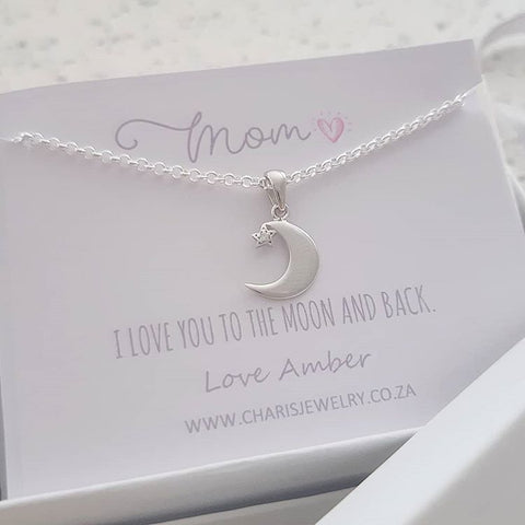 C18501 - 925 Sterling Silver CZ Moon and Star Necklace on Personalized Card