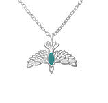 C1010-C37610 - 925 Sterling Silver CZ Stones Bird Necklace