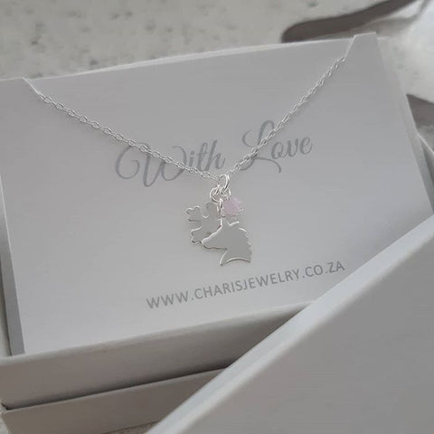 C1414-C32734 - 925 Sterling Silver Unicorn, Snowflake Necklace