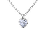 C432-C31053 - 925 Sterling Silver CZ Lavender Heart Necklace 5mm
