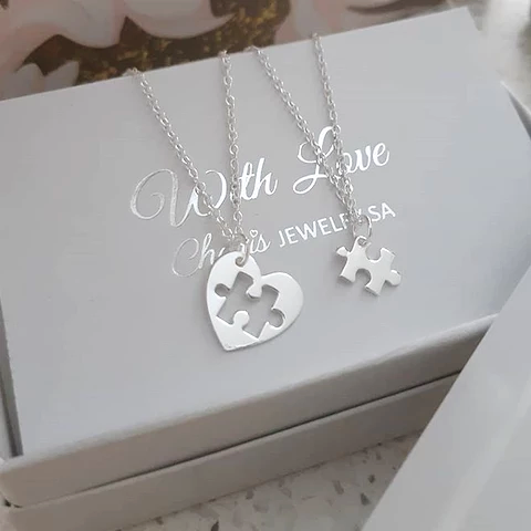 C707-C36226 - 925 Sterling Silver Heart Puzzle Piece Necklace set
