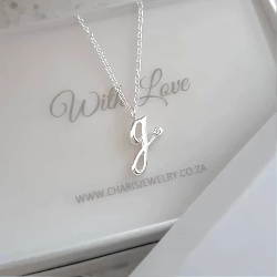 C811-C36599 - 925 Sterling Silver A-Z Any Initial CZ Script Letter Necklace