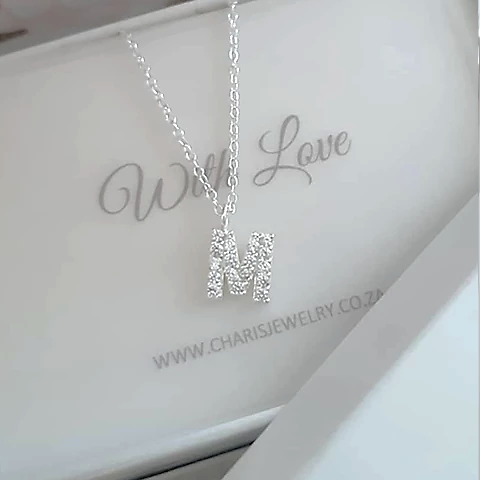 C812-C36370 - A-Z Any Initial CZ Letter Necklace, 925 Sterling Silver