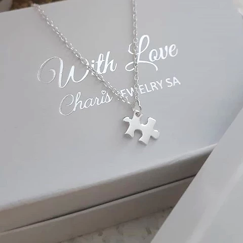 C737-C36292 - 925 Sterling Silver Puzzle Piece Necklace