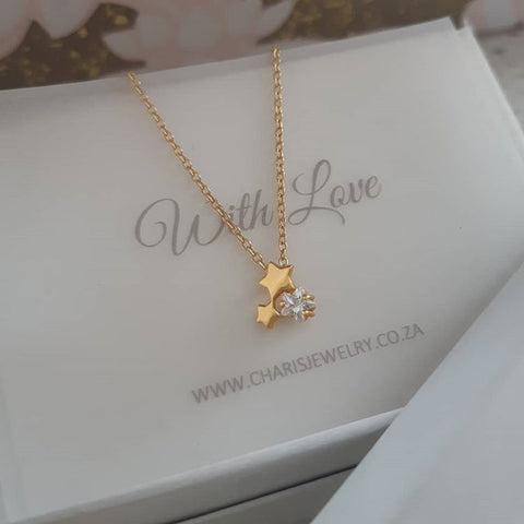C1293-C36848 - Gold Plated 925 Sterling Silver Triple Star Necklace