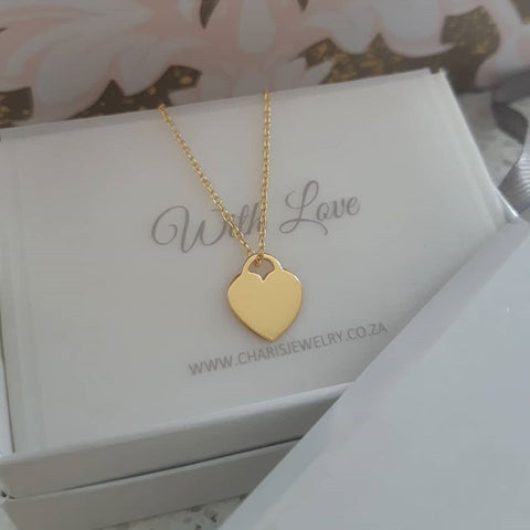 C1388-C39413  - Gold Plated 925 Sterling Silver Heart necklace