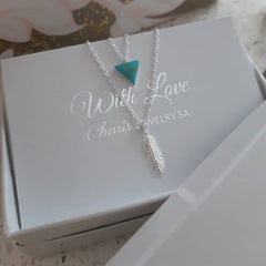 Sterling silver feather layered necklace