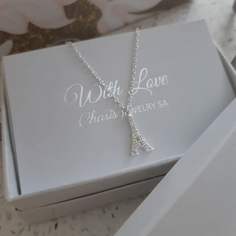 C816-C25022 - 925 Sterling Silver CZ Eiffel Tower Necklace