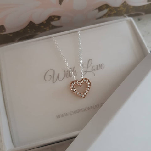 C1352-C39176 - 925 Sterling Silver and Rose Gold Heart CZ Necklace