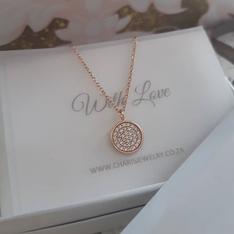C1389-C39414  - Rose Gold Plated 925 Sterling Silver CZ Stone necklace