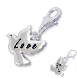 Sterling silver love peace dove charm dangle