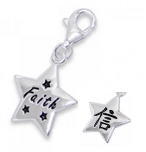 C1-7323 - 925 Sterling Silver Faith Charm Dangle