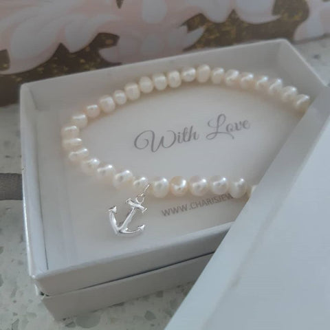 C797-C29436 - 925 Sterling Silver Anchor Fresh Water Pearl Stretch Bracelet