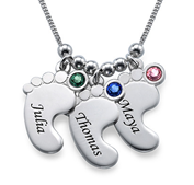 N460 - Sterling Silver Personalized Baby Feet Necklace with Birthstones