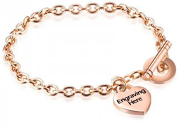 NNJ3 - CBA101712 - Personalized Rose Gold Stainless Steel Bracelet